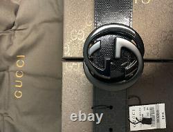 Gucci Belt Authentic Black Imprime Taille-100 Cm, S'adapte À La Taille 34/36, Nouveau Withtag In Box
