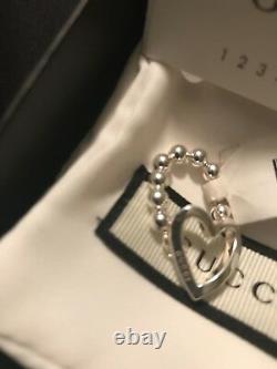 Gucci Heart Ring Authentique Taille 6/7 Agustable Nouveau Dans La Boîte Avec Tag