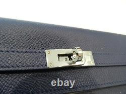 Hermes Kelly Long Wallet In Epsom Calfskin Silver Hardware-new W Box & Authentic