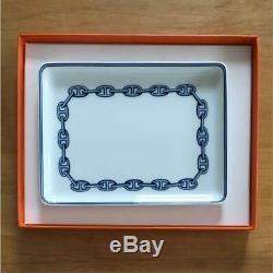 Hermes Paris Plate Authentique Chaîne D'ancre Bleu Cendrier Vaisselle En Porcelaine Withbox