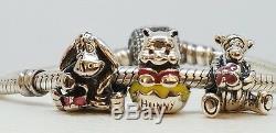 Lot De 3 Nouveaux Charmes Authentiques Disney Pandora Winnie L'ourson, Tigrou, Bourriquet