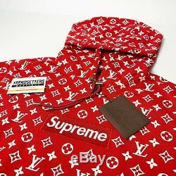 Louis Vuitton Suprême Box Logo Hoodie 100% Authentique Monogramme M Moyenne LV 1a3fbu