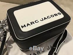 Marc Jacobs Le Texturés Mini Box Sac À Bandoulière Noir En Cuir Blanc Authentique
