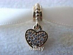 Newithtags Authentique Pandora Charm 14k Pave Coeur De Diamants # 750809d Hinged Box