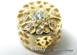 Nouveau! Authentique Pandora Coeurs Charme De L'or # De Boîte Hinged