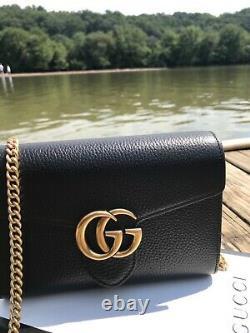 Nouveau Avec Box Authentic Gucci Black Gg Marmont Cellarius Wallet Bag Crossbody