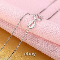 Nouveau Collier Authentique En Or Blanc 18k Elegant Box Link Woman's Lucky Chain 18l