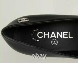 Nouveau Dans Authentique Chanel Noir Heels En Peau D'agneau En Cuir Escarpins 37,5 6,5
