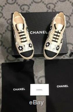 Nouveau Dans La Boîte Authentique Chanel Espadrille Lace Up Flower See Thru Chaussures Taille 6 37