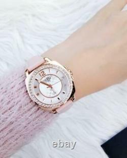 Nouveau Entraîneur Authentique Femmes Rose Or Boyfriend Swarovski Glitz Watch 14503151