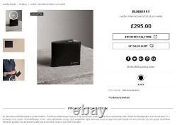 Nouveau Portefeuille Authentique Burberry Leather International Bifold ID Coin Wallet, Noir, Dans La Boîte