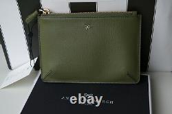 Nouvelle Authentique Anya Hindmarch Sur Mesure Green Leather Loose Pocket Clutch / Bag Box