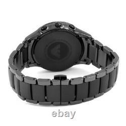 Nouvelle Marque Authentique Emporio Armani Ar1452 Cadran Noir Céramique Hommes Montre Uk Stock