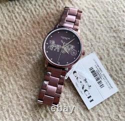 Nwb 14502923 Authentic Coach Montre Cadran Violet Grand Bracelet En Acier Inoxydable