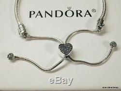 Nwt Authentique Pandora Bracelet Coeur Pave Chaîne Curseur # 598699c01-2 Boîte Charnière