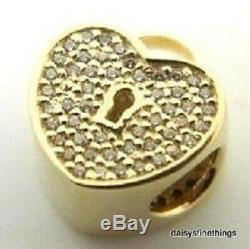 Nwt Authentique Pandora Charm 14kt Gold Heart Verrouillage # 750833cz Boîte Hinged Retraite