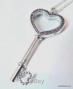 Nwt Authentique Pandora Grand Flottant Médaillon Coeur Clé, # 396584fpc-80 Hinged Box