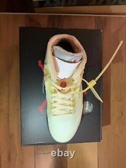 Off White X Nike Air Jordan 5 Sail Fire Red New In Box Size 7.5 Authentique