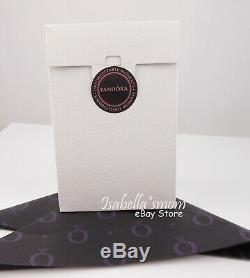 Pandora Authentique Signature Argent Logo Boucles D'oreilles 290558cz Cercles Nouveau Etui