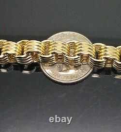 Real 10k Or Collier Chaîne Byzantine 8mm 22 Pouces 100% Or Authentique, Hommes