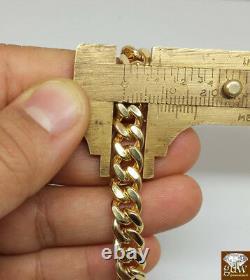 Real 10k Or Jaune 8mm Miami Cuban Bracelet 9 Boîte Serrure 100% Authentique 10kt