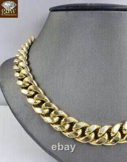 Real 10k Or Miami Chaîne Cubaine 13mm 26 Lien Collier 100%authentique Or Jaune