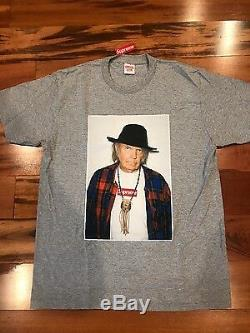 Supreme Neil Young T Taille L Grey Boîte Logo Authentique Ss15