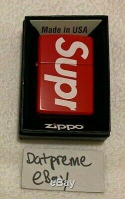 Supreme Zippo Red Box Logo Ss18 Nouveau Glow Authentique