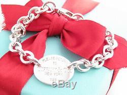 Tiffany & Co Authentique Argent 925 Ovale S'il Vous Plaît Retour À Bracelet 7 Poignet Box