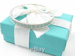 Tiffany & Co Authentique Blanc Émail Bleu Daisy Bangle Boîte Et Pochette Inclus