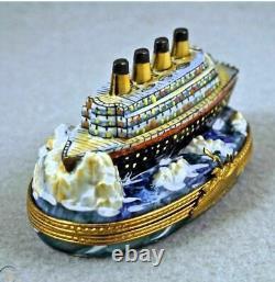Titanic Boat Limoges Box Authentic Peint Main France French Brand Nouveau