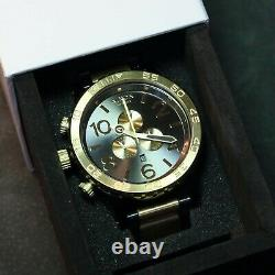 Us New Authentic Nixon Watch Hommes 51-30 Chrono Gunmetal & Gold A083595 Hommes Gift